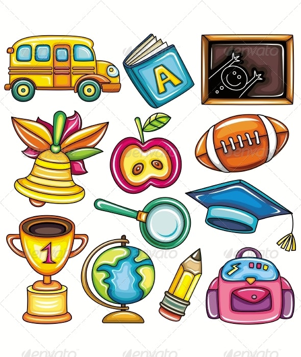 Colorful school icons for children - Man-made Objects Objects