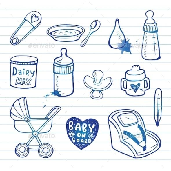 Infant  Doodle Icon Set