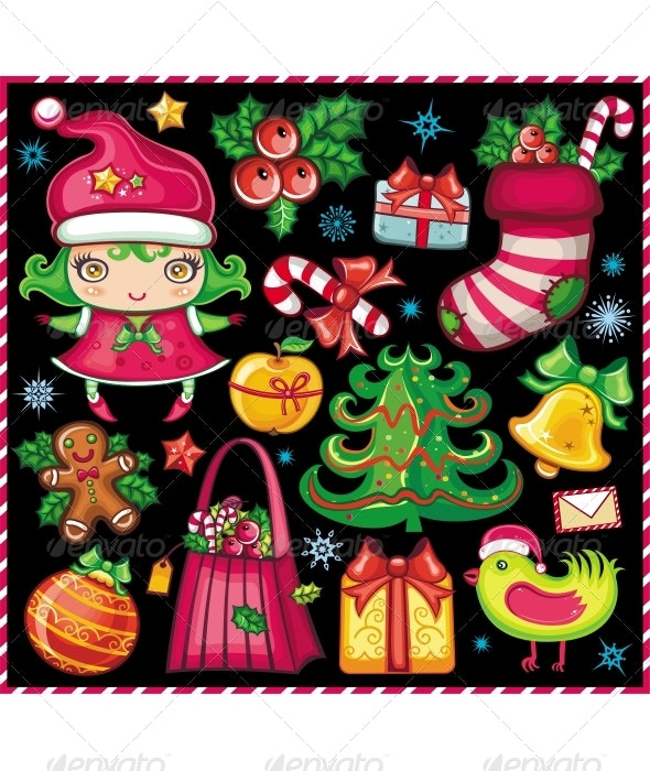 Christmas collection of cute holiday objects - Christmas Seasons/Holidays