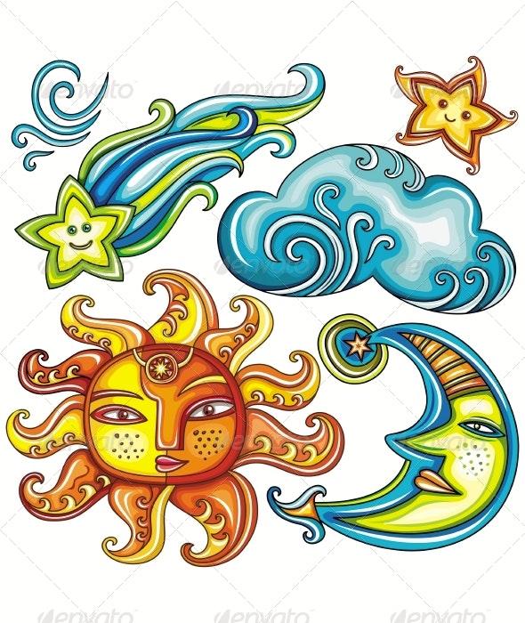Celestial design elements - Decorative Symbols Decorative
