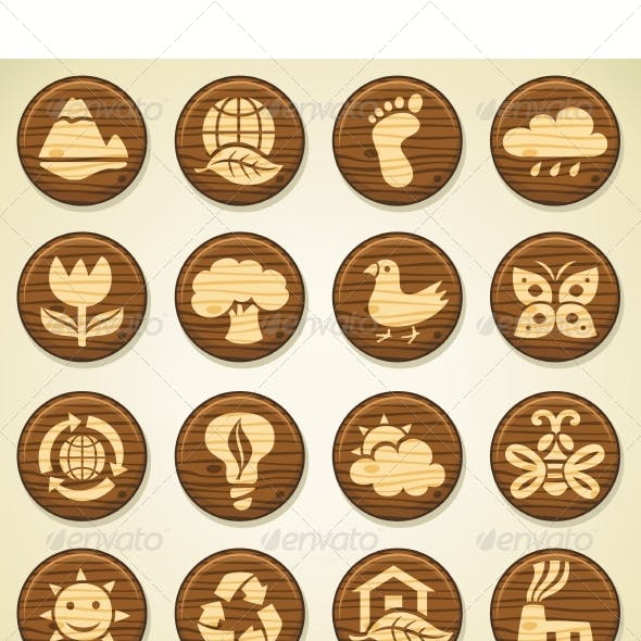 Wooden Environment Icon Collection