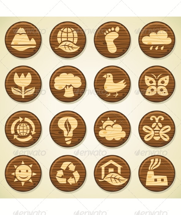 Wooden Environment Icon Collection - Seasonal Icons