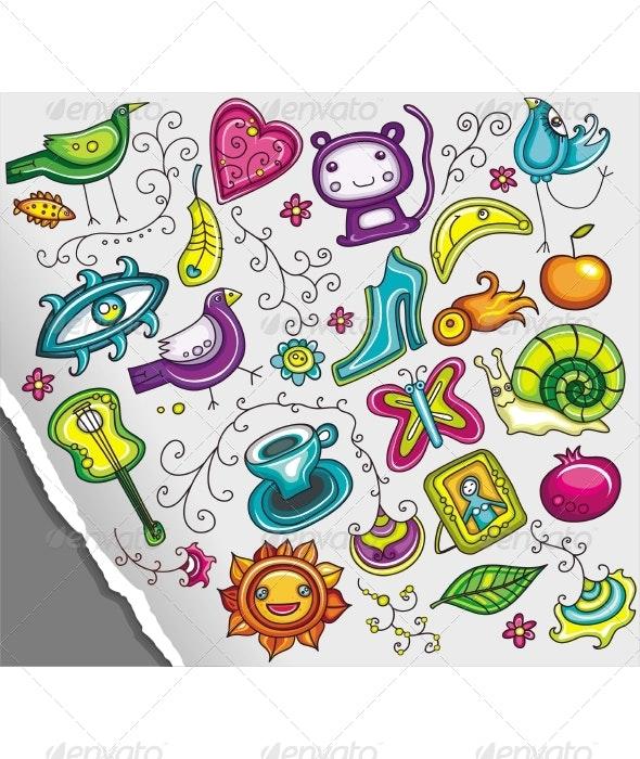Cute cartoon doodle icons - Decorative Symbols Decorative