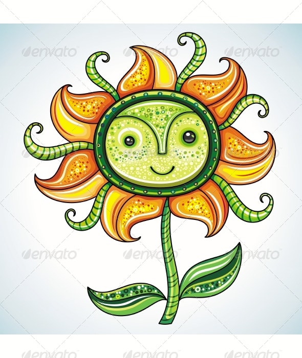 Funny cheerful Eco flower character - Flowers & Plants Nature