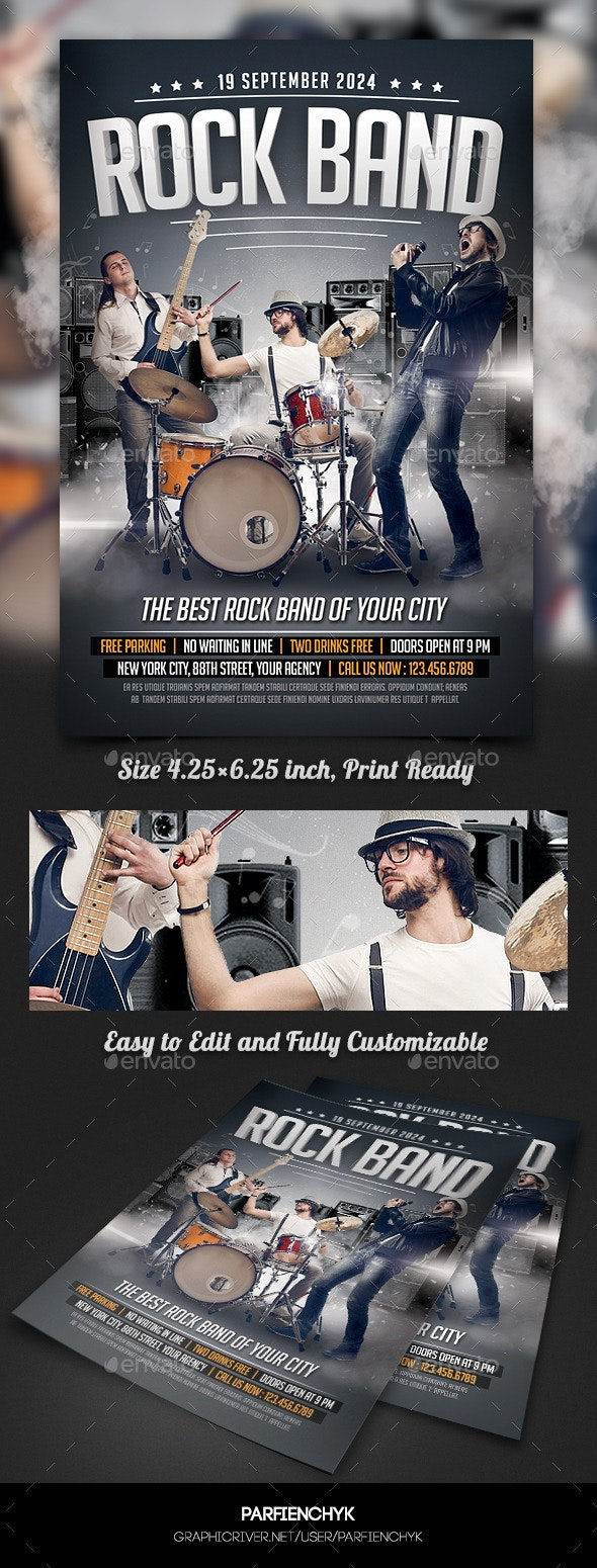 Rock Band Concert Flyer Template - Clubs & Parties Events