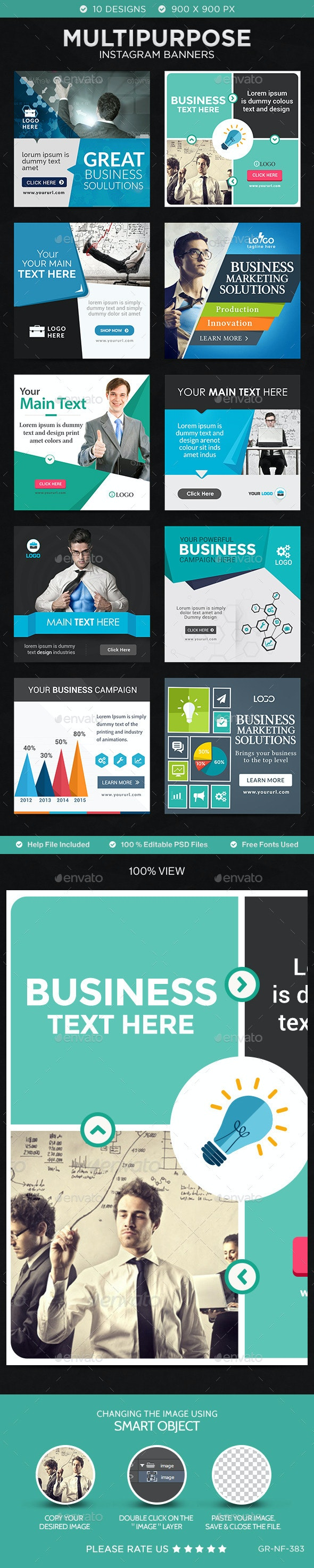 Business Instagram Templates - 10 Designs - Banners & Ads Web Elements