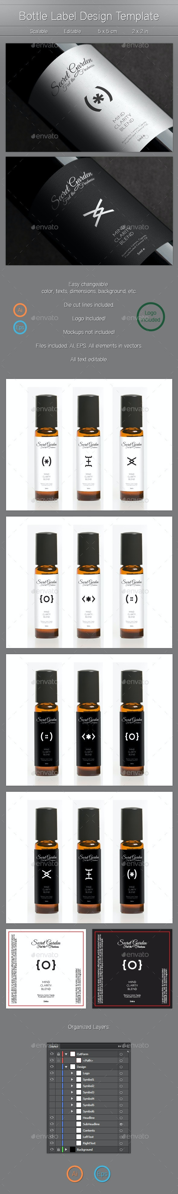Bottle Label Design - Packaging Print Templates