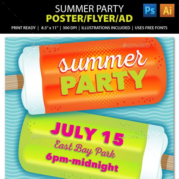 Summer Party or Event Poster, Flyer or Ad