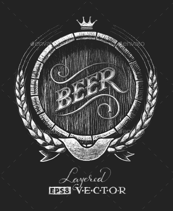 Barrel Of Beer On Chalkboard - Food Objects