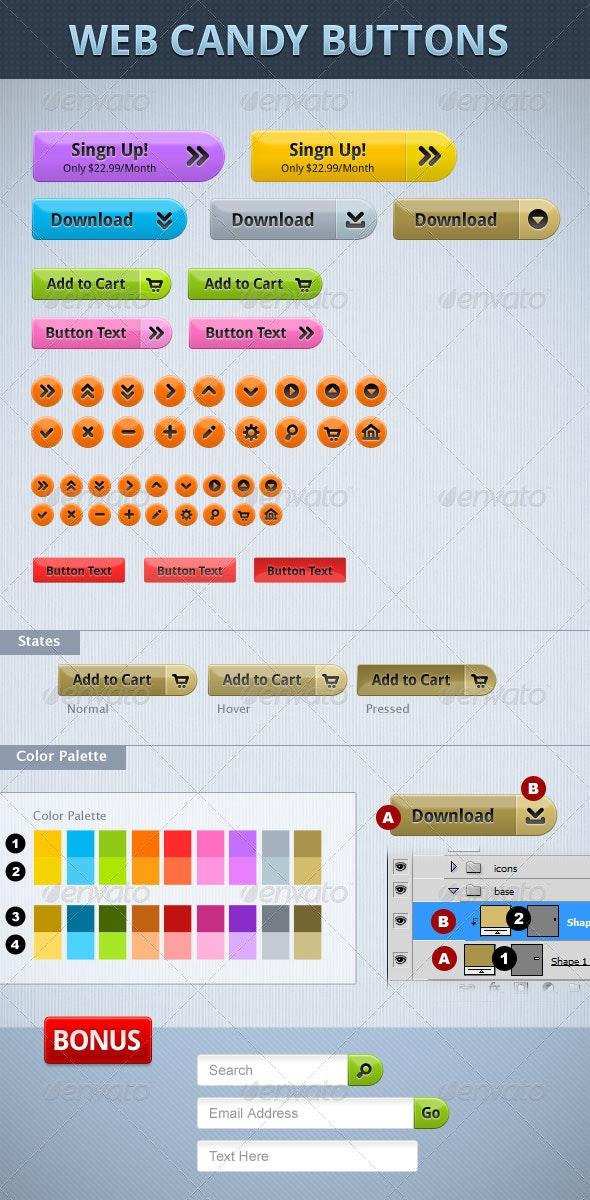 Web Candy Button set - Buttons Web Elements