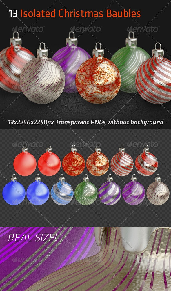 13 Isolated Christmas Baubles - Objects 3D Renders