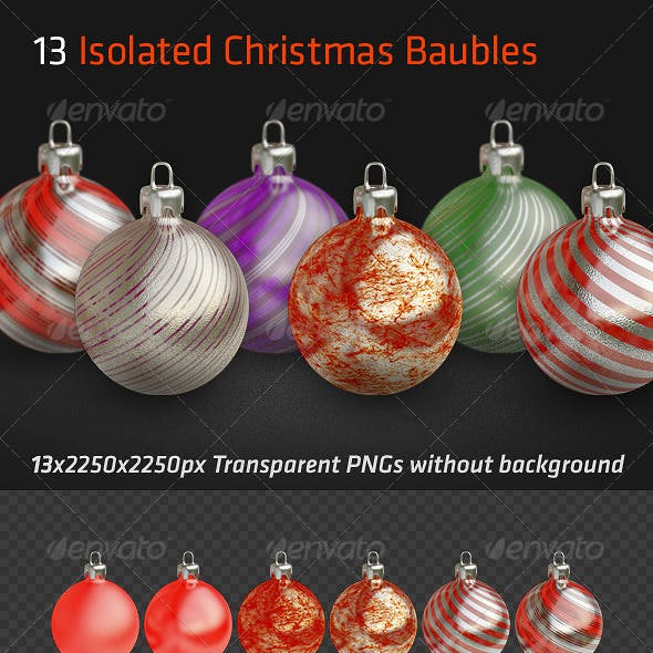13 Isolated Christmas Baubles