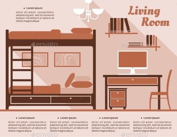 Living Room Interior Decor Infographic - Miscellaneous Vectors