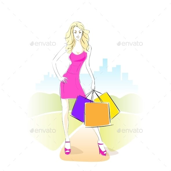 Shopping Woman With Bags Wear Pink Dress Standing