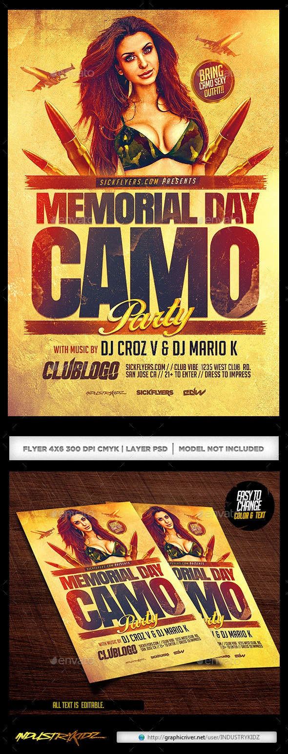 Memorial Day Camo Party Flyer - Clubs & Parties Events