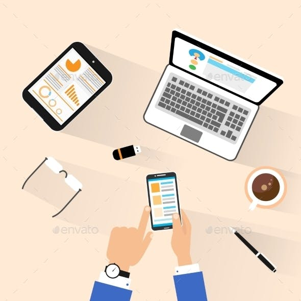 Businessman Use Phone At Workplace Top View Desk