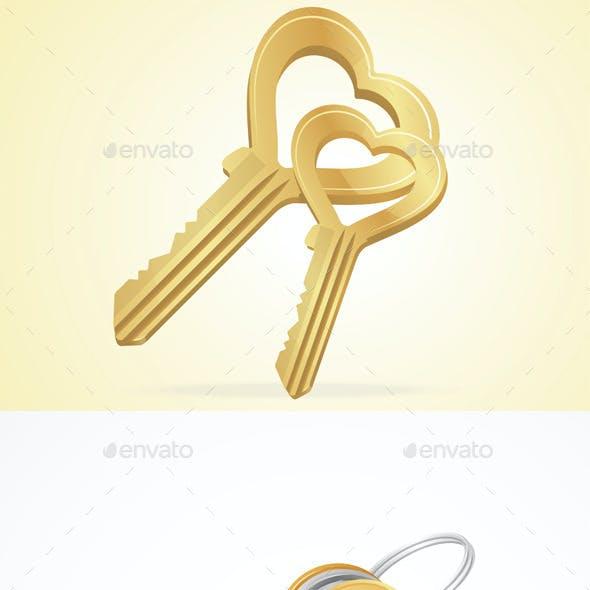 Vector Golden, Silver, Bronze, Metal Keys Set