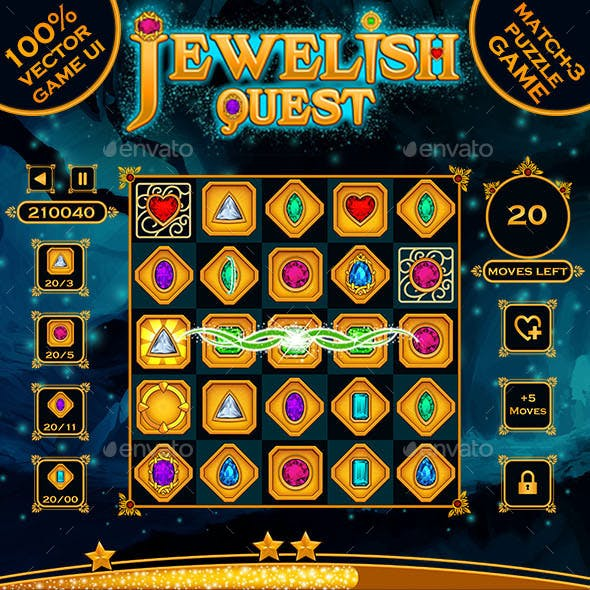 Jewelish Match-3 Puzzle Game UI Kit