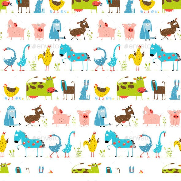 Fun Cartoon Farm Animals Seamless Pattern