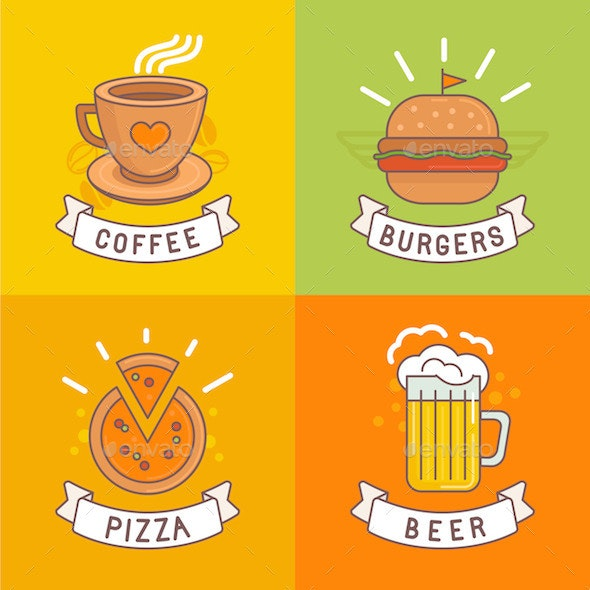 Linear Food Labels and Badges  - Food Objects