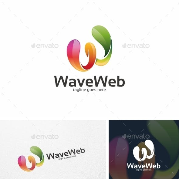 Wave Web / W Letter - Logo Template