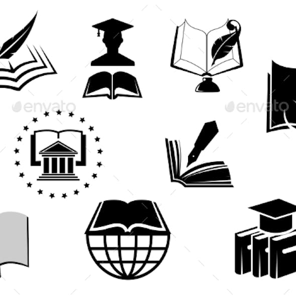 Black And White Education Or Knowledge Icons