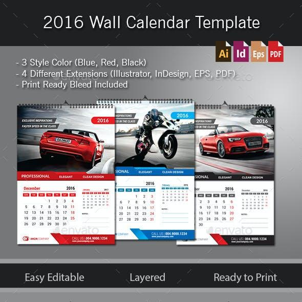 2016 Wall Calendar Template