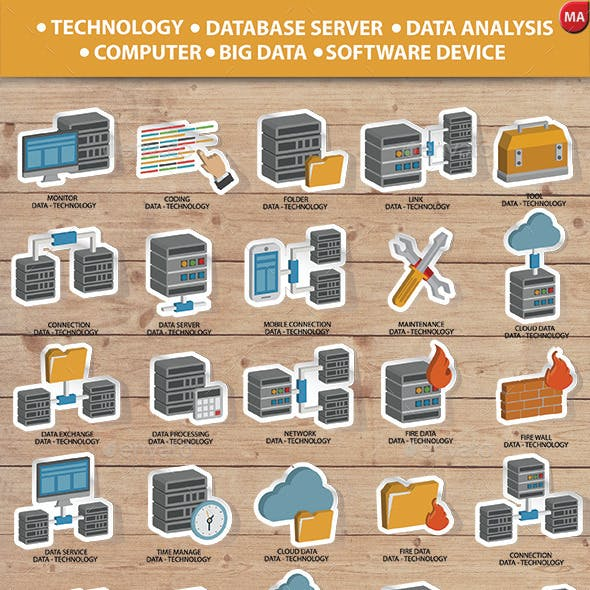 Database Server & Computer System Icon set