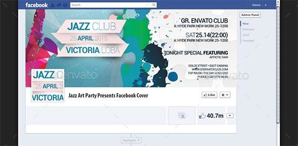 Jazz Art Party Presents Facebook Cover - Facebook Timeline Covers Social Media