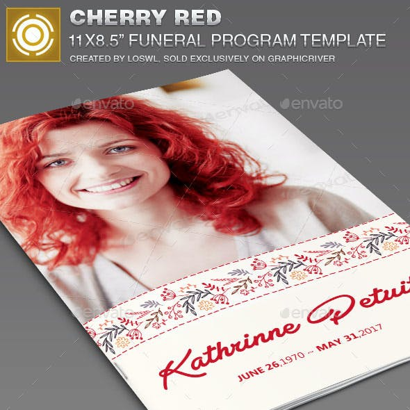 Cherry Red Funeral Program Template