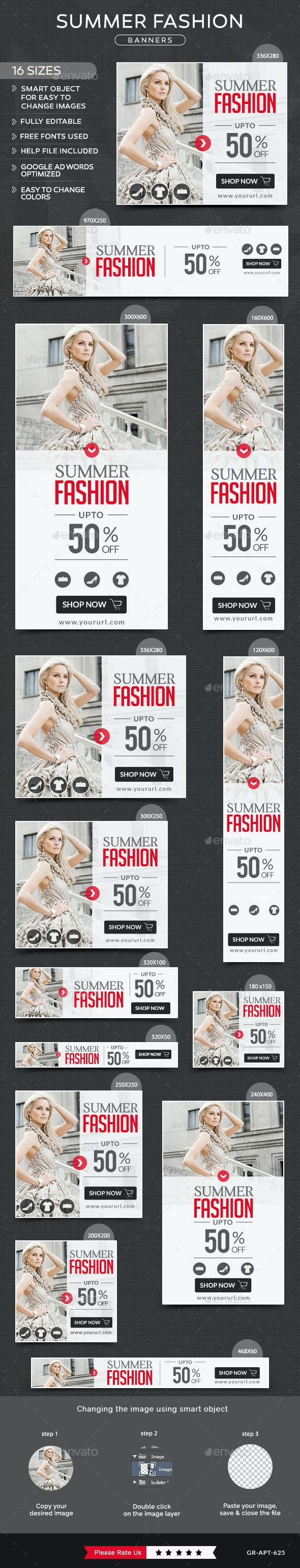 Summer Fashion Banners - Banners & Ads Web Elements