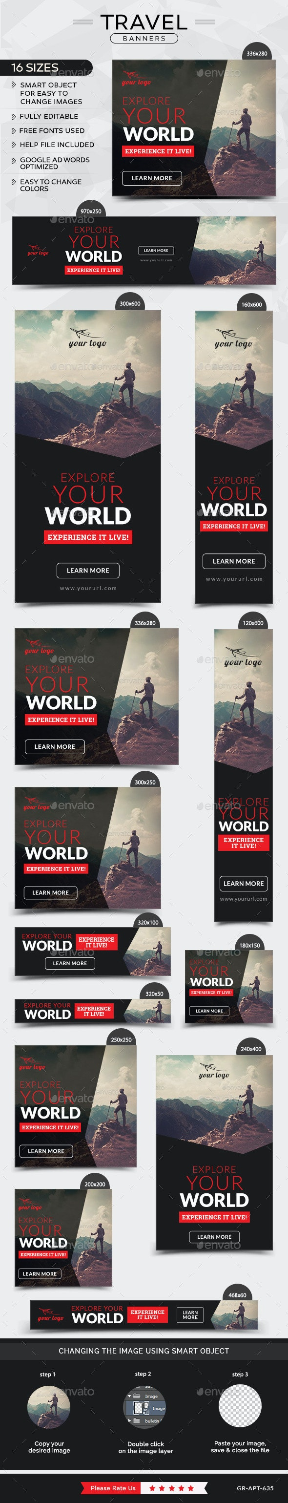 Travel Banners - Banners & Ads Web Elements