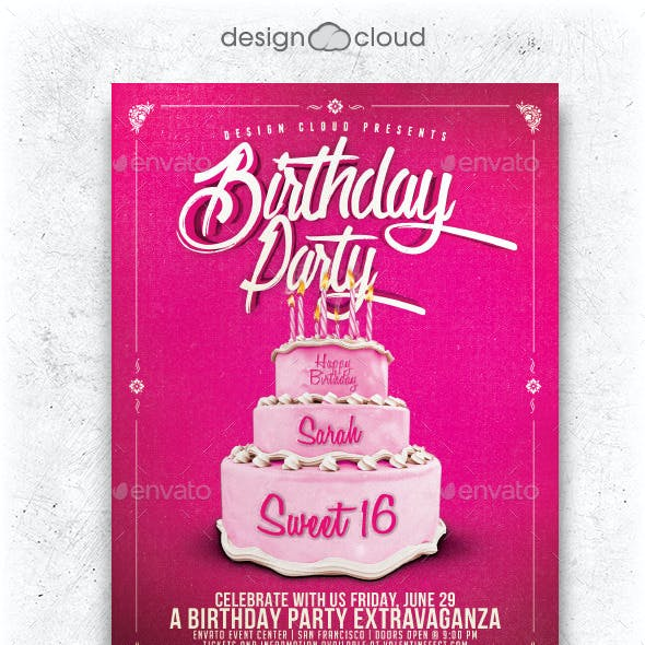 Birthday Party Cake Flyer Template