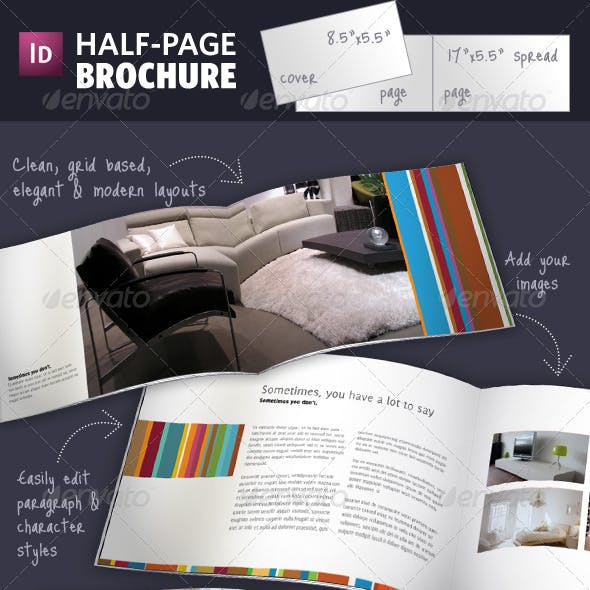 Half Page Brochure InDesign Template