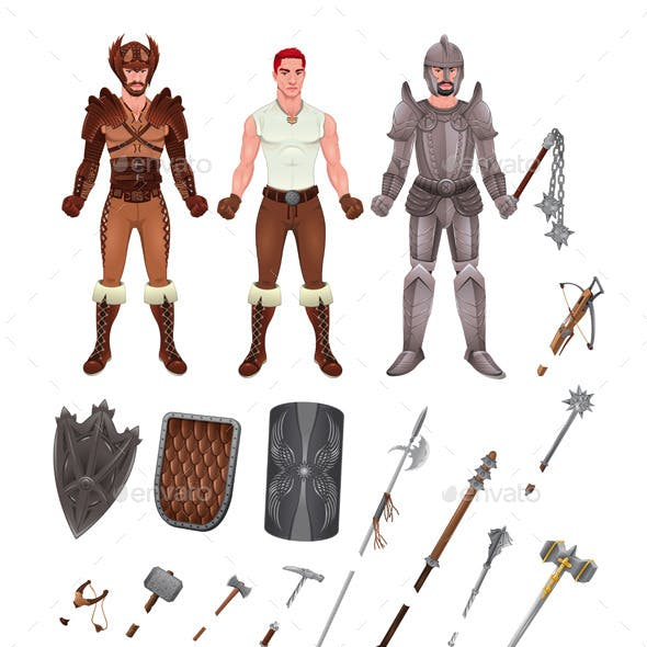 Medieval Avatar with Armors and Weapons
