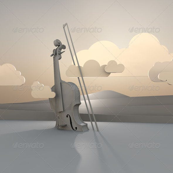 Violin with Clouds