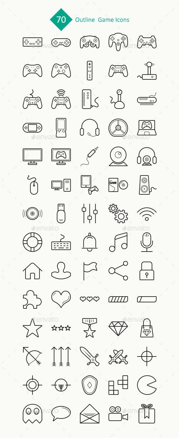 70 Outline Game Icons - Web Icons