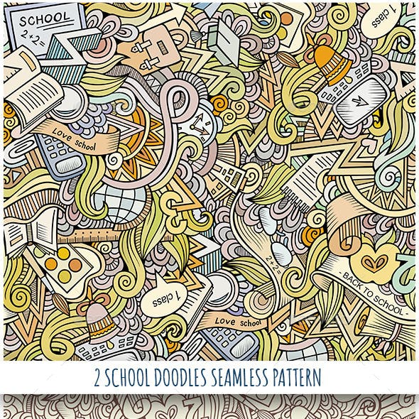 2 School Doodles Seamless Patterns