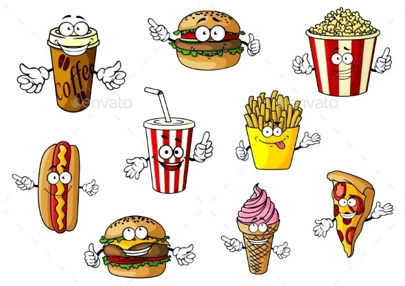 Cartoon Fast Food and Takeaways Characters - Food Objects