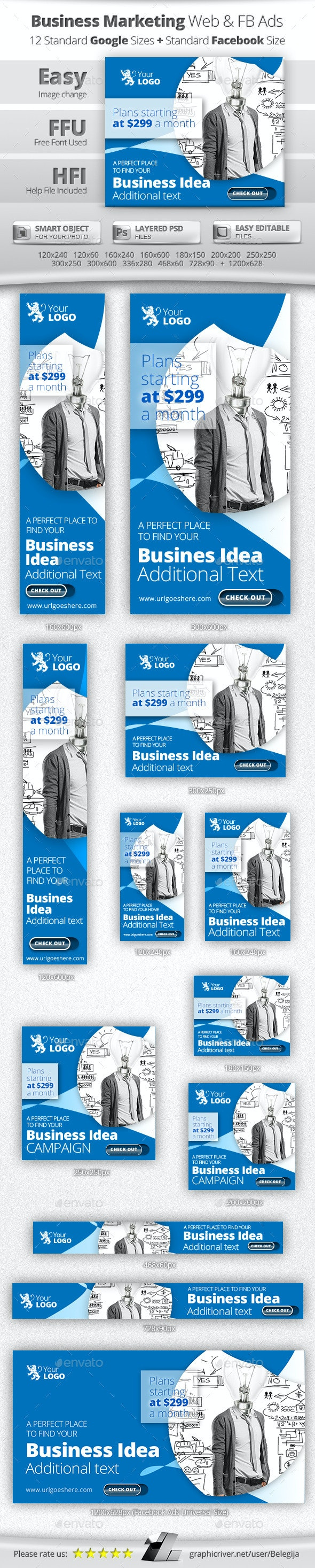 Business Online Marketing Web & Facebook Banners - Banners & Ads Web Elements