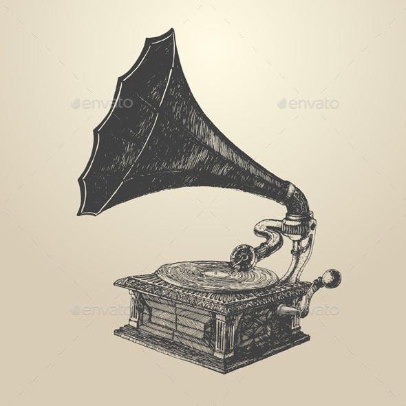 Phonograph Vintage Engraving