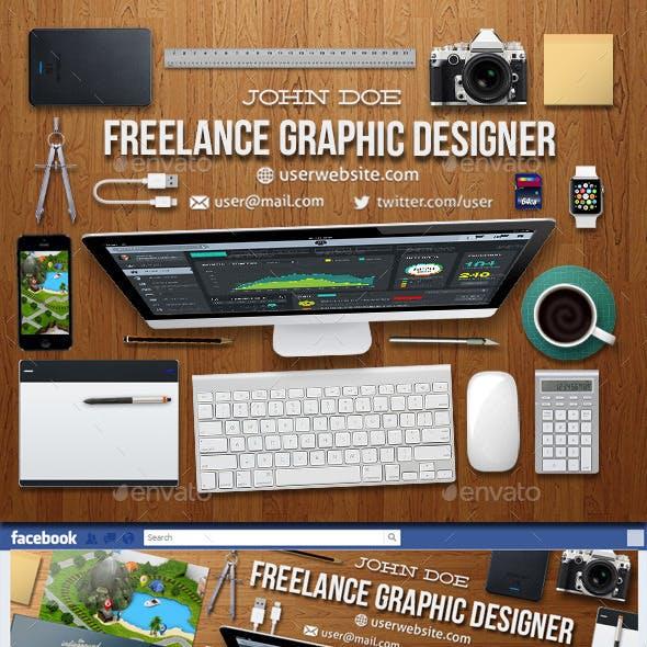 Graphic Designer Workspace Timeline Cover