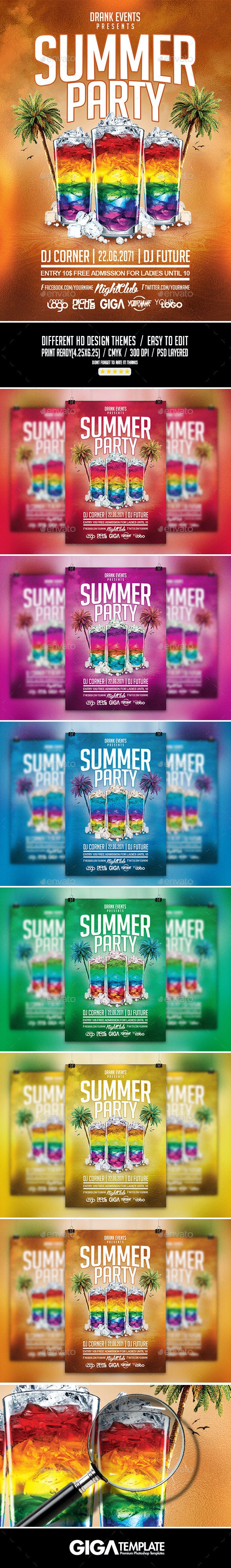 Summer Party |Cocktail Night Flyer PSD Template - Events Flyers