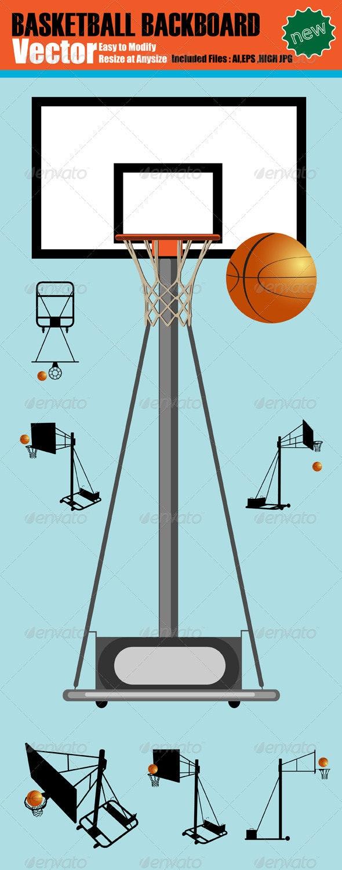Vector Basketball Backboard Silhouette Set - Sports/Activity Conceptual