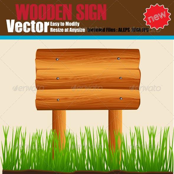 Vector Wooden Sign Set