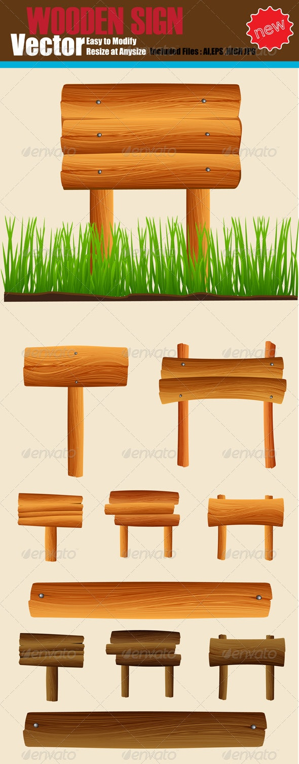 Vector Wooden Sign Set - Man-made Objects Objects