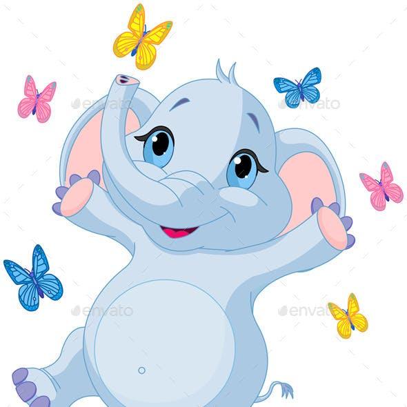 Baby Elephan Dancing with Butterflies