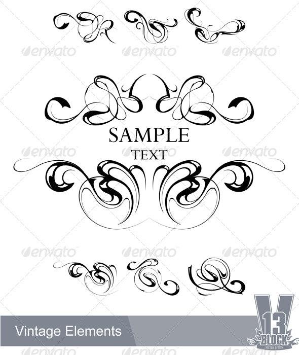 Set of vintage design elements - Decorative Symbols Decorative