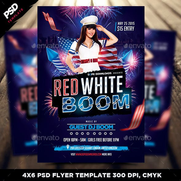Red White Boom Flyer Template