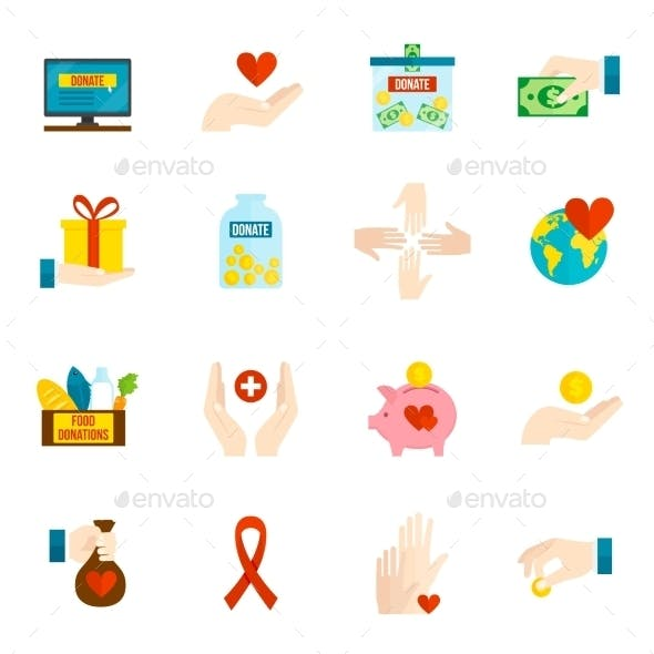 Charity Icons Flat Set